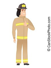 Firefighter giving thumb up vector illustration.