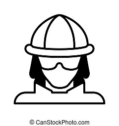 firefighter head on white background