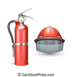 Firefighter Helmet And Extinguisher