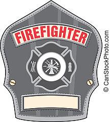 Firefighter Helmet Badge - Illustration of a black leather...