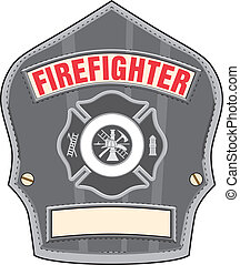 Firefighter Helmet Badge - Illustration of a black leather...