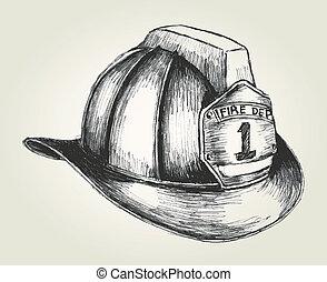 Firefighter Helmet - Sketch illustration of a firefighter...