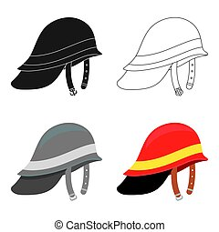 Firefighter Helmet icon cartoon. Single silhouette fire equipment icon from the big fire Department cartoon.