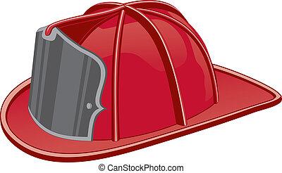 Illustration of a firefighter helmet or fireman hat.