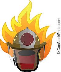 firefighter helmet on fire