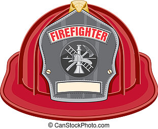 Illustration of red firefighter helmet or fireman hat from the front with firefighter tools logo. Vector format is easily edited or separated for print and screen print.