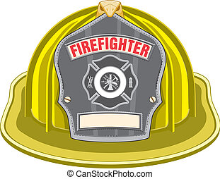 Firefighter Helmet Yellow - Illustration of yellow...
