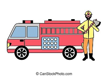 firefighter holding axe and fire truck