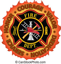 Fire department or firefighter Maltese cross symbol design with flame border encircled by %u201CHonor, Courage, Valor, Dedication and Service%u201D. Includes firefighter tools symbol.