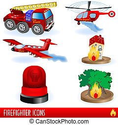 Firefighter Icons - Color illustration of variety...