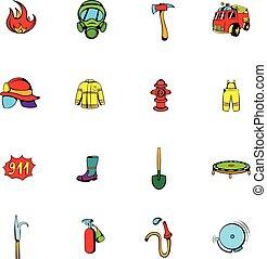 Firefighter icons set cartoon