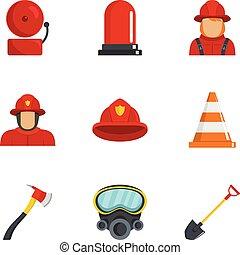 Firefighter icons set, cartoon style