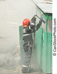 Firefighter in action