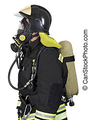 Firefighter in breathing apparatus - Firefighter in self...