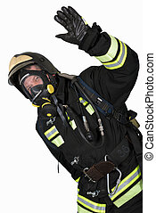 Firefighter in breathing apparatus gestures Ok - Firefighter...