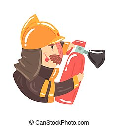 Firefighter in safety helmet and protective suit holding fire extinguisher cartoon character vector Illustration