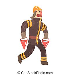 Firefighter in safety helmet and protective suit running with red buckets full of water cartoon character vector Illustration