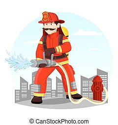 Firefighter in uniform spraying water with hose - Fireman in...