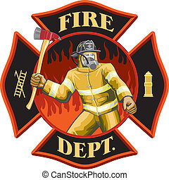 Firefighter Inside Cross Symbol - Illustration of a...
