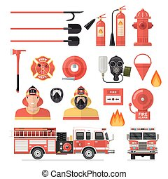 Firefighter Isolated Colored Icon Set