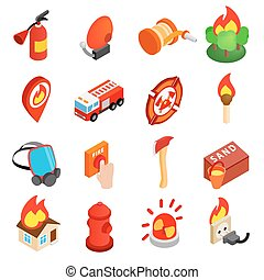 Firefighter isometric 3d icon