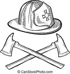 Firefighter items sketch - Doodle style firefighter's helmet...