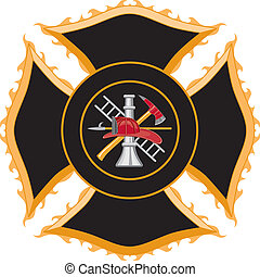 Firefighter Maltese Cross Symbol - Illustration of a...