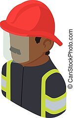 Firefighter man african american icon, isometric 3d style