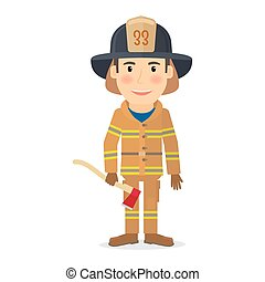 Firefighter man character