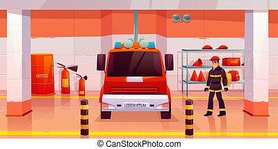 Firefighter man stand near fire engine in garage