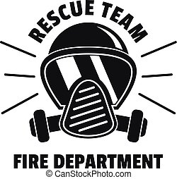 Firefighter mask logo, simple style