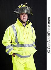 Firefighter on Black