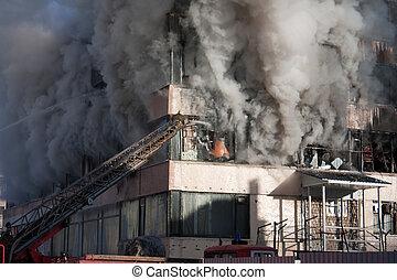 Firefighter on fire - Burning fire smoke firefighter...