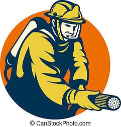 Firefighter or fireman fire hose