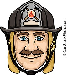 Firefighter or fireman in protective helmet