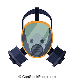 Firefighter Oxygen Mask, Fire Fighting Equipment Flat Style Vector Illustration on White Background