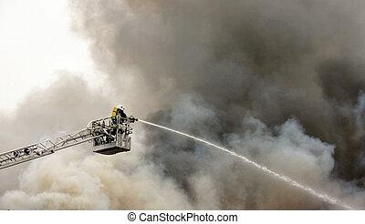 firefighter, på, pligt