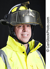 Firefighter Portrait on Black