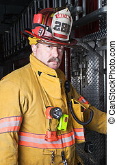 Firefighter Portrait - Firefighter Portrait in Turnout Gear...