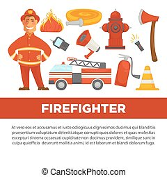 Firefighter profession and fire secure protection vector psoter flat design template