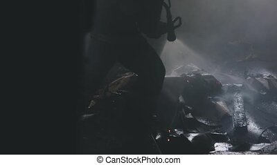firefighter puts out fire
