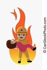 Firefighter Rescue a Woman from Fire Vector Illustration