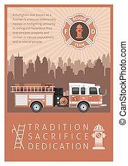 Firefighter Retro Poster