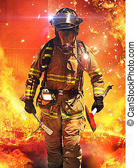 Firefighter searches for possible survivors with tools,...