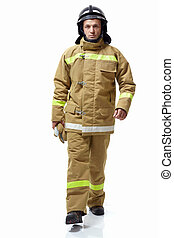Firefighter - Serious firefighter in uniform on a white...