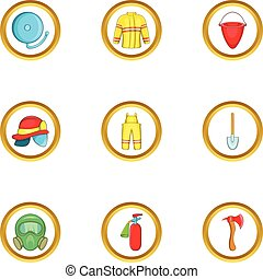 Firefighter service icon set, cartoon style