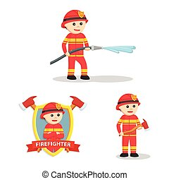 firefighter set illustration design