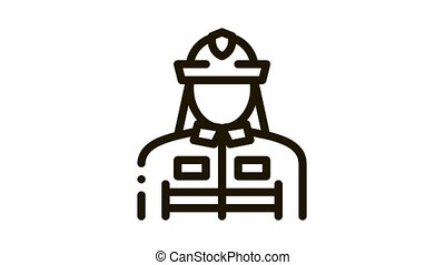 Firefighter Silhouette Icon Animation. black Firefighter Silhouette animated icon on white background