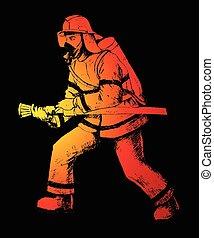 Firefighter - Sketch illustration of a firefighter