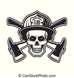Firefighter skull in helmet vector illustration